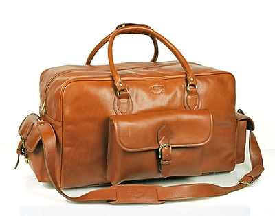 Aston Leather 21'' Leather Carry-On Duffel w/ Top Zipper Closure; Brown