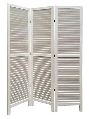 Screen Gems 67'' x 48'' Shutter 3 Panel Room Divider; White