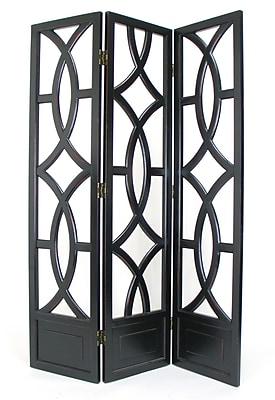 Wayborn 76'' x 54'' Charleston 3 Panel Room Divider; Distressed Antique Black