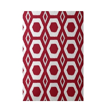e by design More Hugs and Kisses Geometric Print Red Indoor/Outdoor Area Rug; Rectangle 2' x 3'