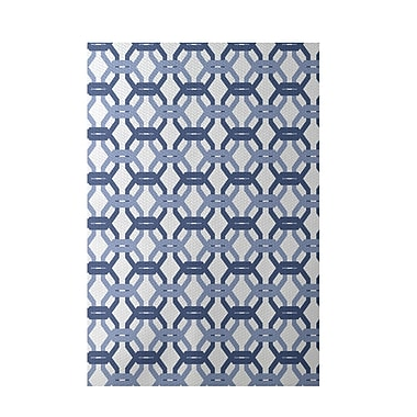 e by design We're All Connected Geometric Print Cadet Indoor/Outdoor Area Rug; Rectangle 2' x 3'