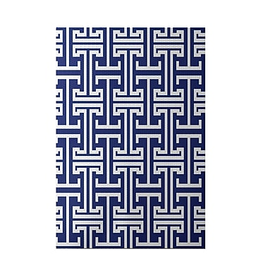 e by design Greek Isles Geometric Print Blue Suede Indoor/Outdoor Area Rug; 4' x 6'