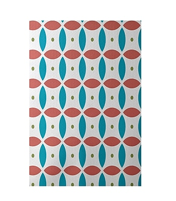 e by design Beach Ball Geometric Print Seed Indoor/Outdoor Area Rug; Rectangle 2' x 3'