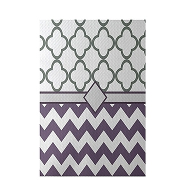 e by design Express Line Geometric Print Purple Indoor/Outdoor Area Rug; 3' x 5'