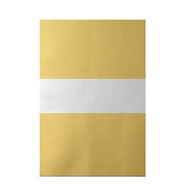 e by design Narrow the Gap Stripe Print Soft Lemon Indoor/Outdoor Area Rug; 3' x 5'