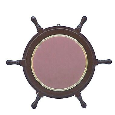 Handcrafted Nautical Decor Deluxe Class 18'' Ship Wheel Mirror; Brass