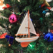 Handcrafted Nautical Decor 9'' Wooden Sailboat Christmas Tree Ornament; Orange