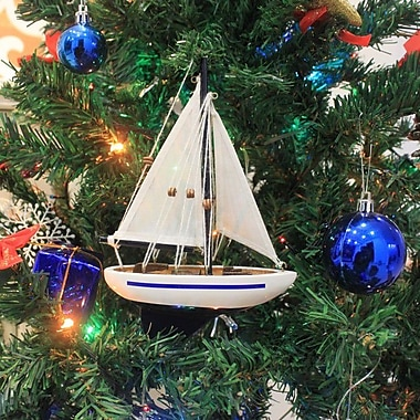 Handcrafted Nautical Decor 9'' Wooden Sailboat Christmas Tree Ornament; Blue