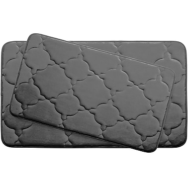 Bath Studio Dorothy Large Premium Micro Plush Memory Foam Bath Mat Set (Set of 2); Dark Grey