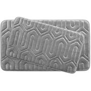 Bath Studio Thea Large Premium Micro Plush Memory Foam Bath Mat Set (Set of 2); Light Grey