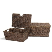 AdecoTrading 2 Piece Dark Brown Chest Basket Set