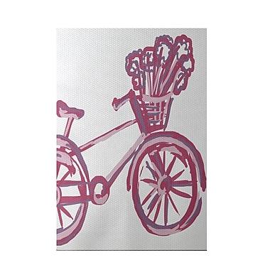 e by design La Bicicleta Geometric Print Pink Cheeks Indoor/Outdoor Area Rug; Rectangle 2' x 3'