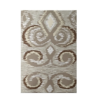 e by design Ikat's Meow Geometric Print Flax Indoor/Outdoor Area Rug; Rectangle 2' x 3'