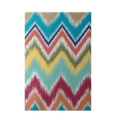e by design Ikat-arina Stripe Print Caribbean Indoor/Outdoor Area Rug; Rectangle 2' x 3'