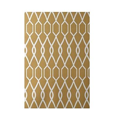 e by design Charleston Geometric Print Dijon Indoor/Outdoor Area Rug; Rectangle 3' x 5'