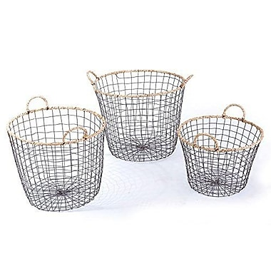 AdecoTrading 3 Piece Multi-Purpose Oval Iron Wired Basket Set
