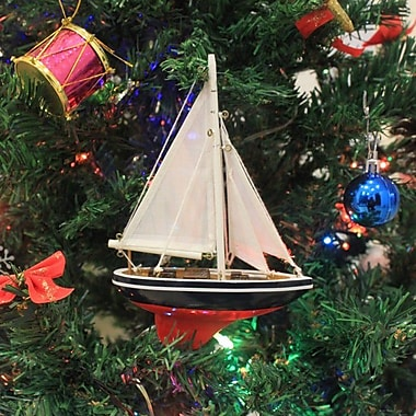 Handcrafted Nautical Decor American 9'' Sailboat Christmas Tree Ornament