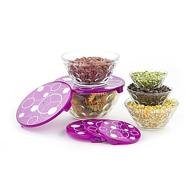 Imperial Home Stackable Dots Glass 5 Container Food Storage Set