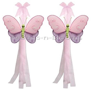 Bugs-n-Blooms Butterfly Curtain Tieback (Set of 2); Pink/ Purple/Green