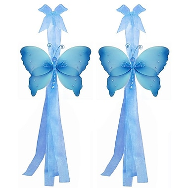 Bugs-n-Blooms Butterfly Curtain Tieback (Set of 2); Blue
