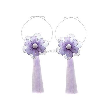 Bugs-n-Blooms Flower Curtain Tieback (Set of 2); Purple