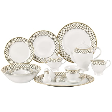 Lorren Home Trends Anabelle 57 Piece Porcelain Dinnerware Set, Service for 8