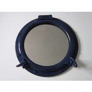 Handcrafted Nautical Decor Porthole 20'' Mirror; Navy Blue