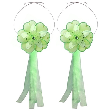 Bugs-n-Blooms Flower Curtain Tieback (Set of 2); Green/White