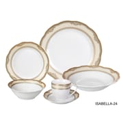 Lorren Home Trends Isabella 24 Piece Dinnerware Set, Service for 4