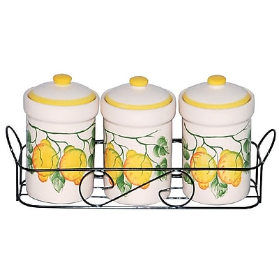 Lorren Home Trends Lemon Design 3 Jar
