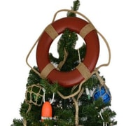 Handcrafted Nautical Decor Lifering Christmas Tree Topper Decoration; Red