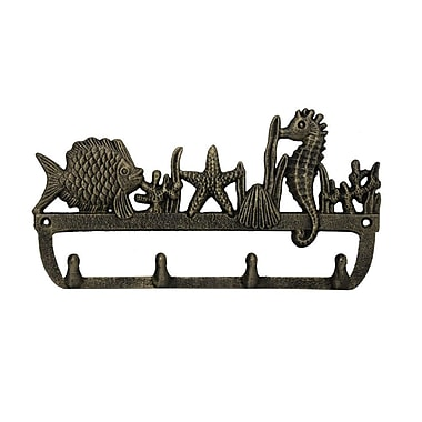 Handcrafted Nautical Decor 12'' Rustic Silver Cast Iron Wall Mounted Seahorse and Fish Hook