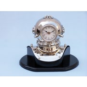 Handcrafted Nautical Decor 12'' Antique Brass Decorative Divers Helmet Clock on Rosewood Base