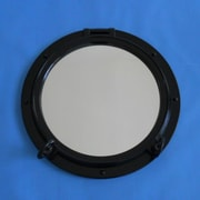 Handcrafted Nautical Decor Porthole Mirror; Gloss Black