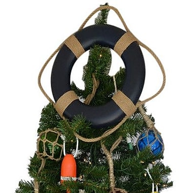 Handcrafted Nautical Decor Lifering Christmas Tree Topper Decoration; Blue