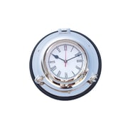 Handcrafted Nautical Decor Porthole 10'' Wall Clock w/ Rosewood Base; Chrome