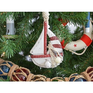 Handcrafted Nautical Decor Wooden Rustic Sailboat Model Christmas Tree Ornament; Red