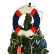 Handcrafted Nautical Decor Lifering Christmas Tree Topper Decoration; White / Blue
