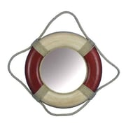 Handcrafted Nautical Decor Antique Decorative Life Ring Mirror; Red