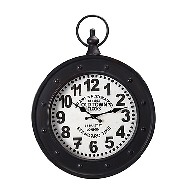 AdecoTrading Vintage-Inspired Pocket ''Old Town Clocks'' Wall Hanging Clock