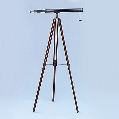 Handcrafted Nautical Decor Harbor Master Refractor Telescope; Oil Rubbed Bronze/Black Leather