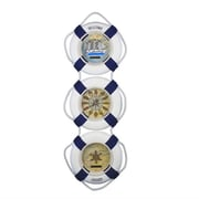 Handcrafted Nautical Decor Triple Life Ring Welcome Aboard Clock; Blue