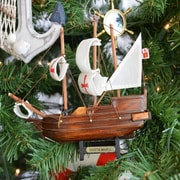 Handcrafted Nautical Decor Santa Maria Wooden Model Ship Christmas Tree Ornament
