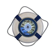 Handcrafted Nautical Decor Vintage Decorative Life Ring 15'' Clock; White/Blue