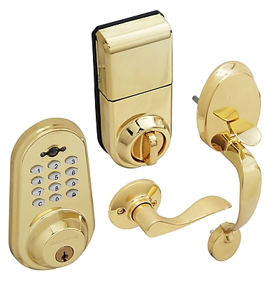 Honeywell Digital Door Lever Handleset Lock with Remote, Polished Brass (8634007)