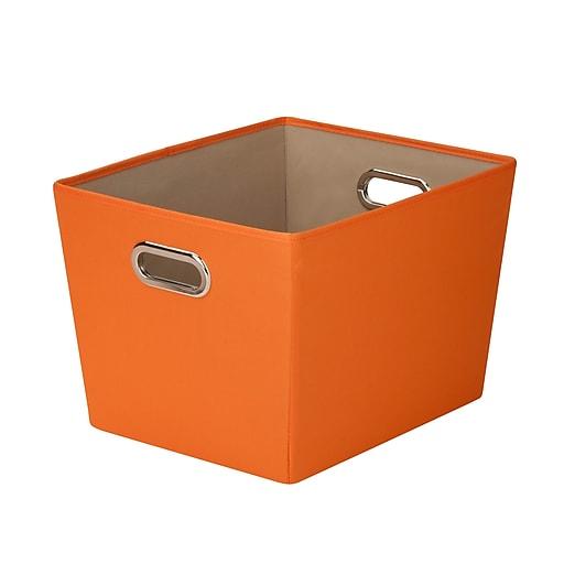 Honey Can Do Medium Decorative Storage Tote with Handles, orange (SFT-03066)