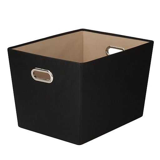 Honey Can Do Large Decorative Storage Tote with Handles, black  (SFT-03073)