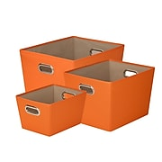 Honey Can Do Decorative Storage Tote Kit with Handles Orange 3/Set (SFTZ03591)