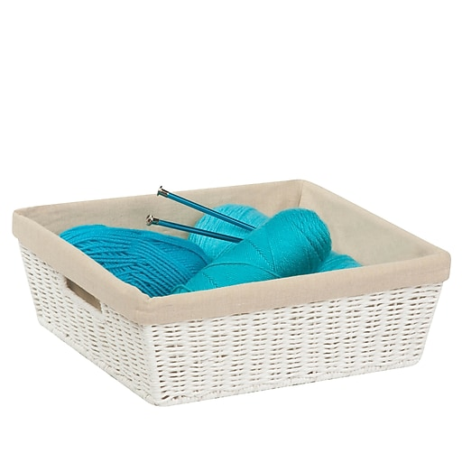 Honey Can Do Paper Rope Shelf Tote with Liner White (STO-03559)