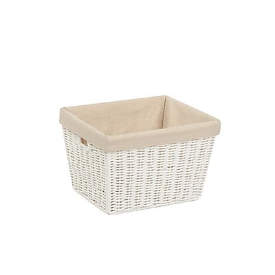 Honey Can Do Small Paper Rope Storage Tote with Liner, White (STO-03560)